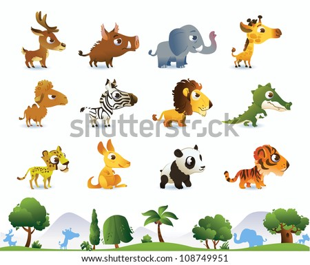 Big zoo animals set #108749951