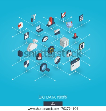 Bigdata integrated 3d web icons. Digital network isometric interact concept. Connected graphic design dot and line system. Abstract background for big data center, research, analysis. Vector Infograph