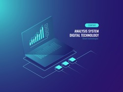 Bigdata report, data statistics on screen of laptop, Business and data charts, incoming information isometric vector illustration