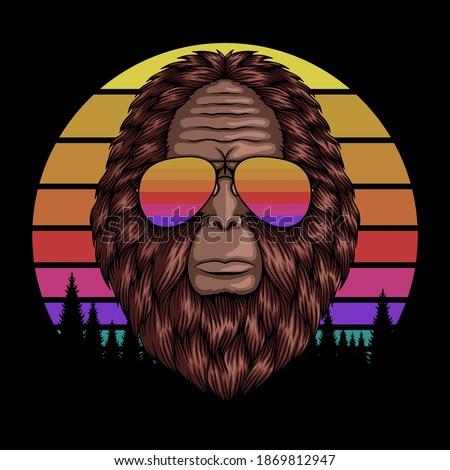 bigfoot head eyeglasses sunset