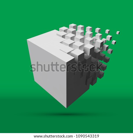 bigger cube dissolving to smaller cubes