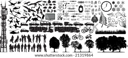Biggest collection of different vector silhouettes