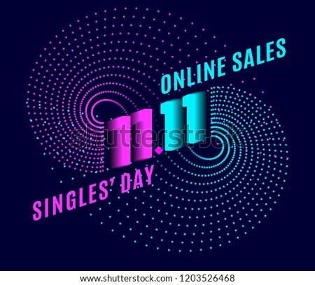 Biggest Shopping event in World Singles Day. Online shopping with discount on 11/11. Bright design for banner, poster or flyer. Crazy sales online. Special offer. Vector illustration.