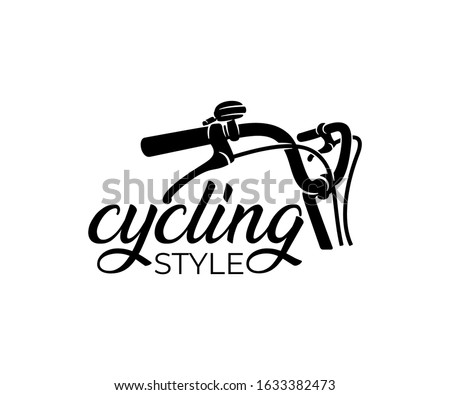 Bike and bicycle steering wheel, logo design. Bicycle, cycle or velocipede, vector design and illustration Сток-фото ©