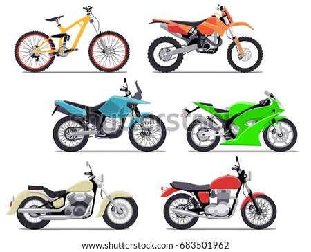 bike and motorbike flat vector