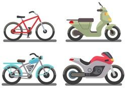 Bike and motorbike vector illustration. Set of ride transport bike and motorbike
