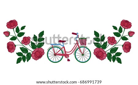 bike and roses embroidery