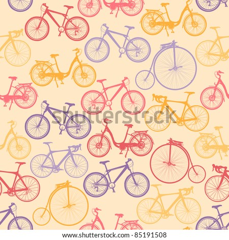 Bike background. Endless pattern. Can be used for wallpaper, pattern fills, web page background, surface textures, fabric design.