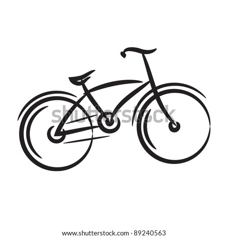 bike. freehand drawing. Icon black and white vector illustration - stock vector