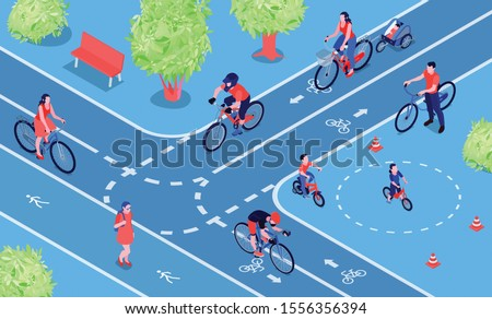 Bike friendly city isometric composition with people cycling on two way cycle path bicycle lanes vector illustration