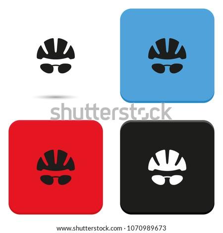 bike helmet and glasses flat