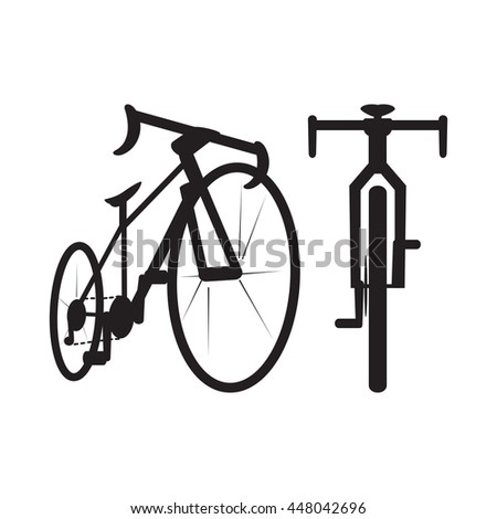 bike icon, front and bottom view, vector