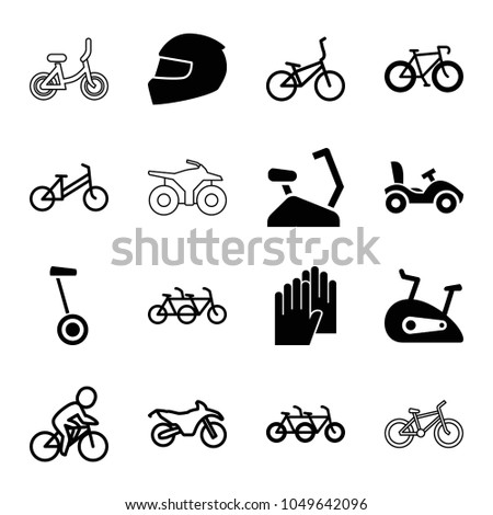 Bike icons. set of 16 editable filled and outline bike icons such as family bicycle, bicycle, exercise bike, helmet, child bicycle, gloves, motorcycle