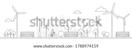 Bike in a park with bench and recycle bin. Line icons. Healthy sustainable lifestyle concept. Recreation and relaxation in the city. Black outline on white background. Vector illustration, clip art