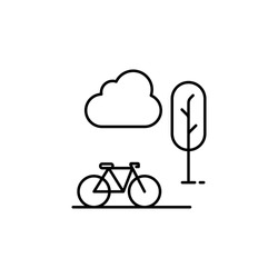 bike in the park icon. Element of hotel icon for mobile concept and web apps. Thin line bike in the park icon can be used for web and mobile