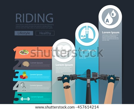 Bike infographic banner design with handlebar hand on bicycle steps to success charts and graphs options. Vector illustration modern numbers template workflow layout, diagram, step up