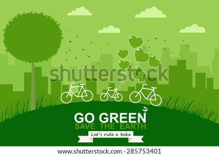 bike on mountain green city