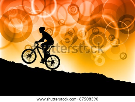 bike on the red abstract background