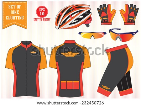 Bike or Bicycle clothing illustration or bike to work equipment illustration easy to modify
