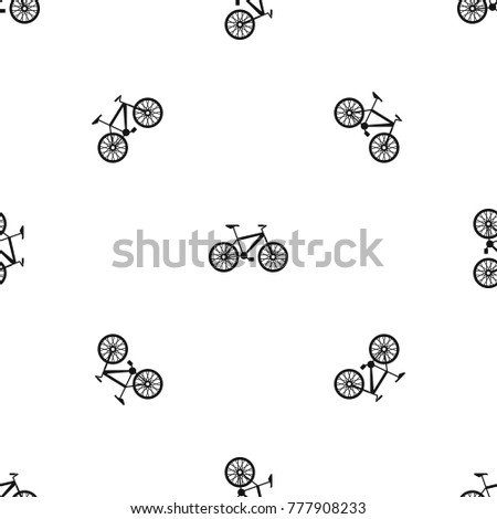 Bike pattern repeat seamless in black color for any design. Vector geometric illustration