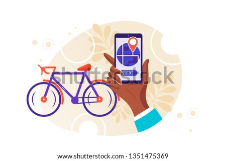 Bike rental service. Parking automat. Active lifestyle. Urban transportation system. character using a mobile online application. Healthy lifestyle. Cycling. Vector illustration