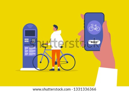Bike rental service. Parking automat. Active lifestyle. Urban transportation system. Young male character using a mobile online application. Healthy lifestyle. Cycling. Flat vector illustration