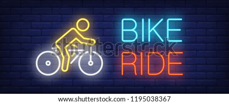 bike ride neon text with