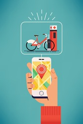 Bike sharing system station near you. Mobile application user locates closest public bicycle rental station on city map. Vector web banner template on bicycle sharing with hand holding mobile device