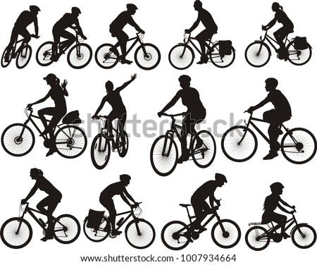 bike silhouettes - cyclists icon and symbols