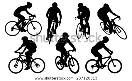 bike silhouettes on the white