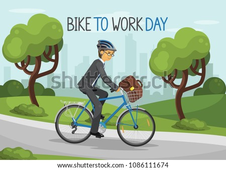 Bike To Work Day. Business man riding bike in helmet in the city park. Business man with bag. Bicycle with basket. Vector illustration.