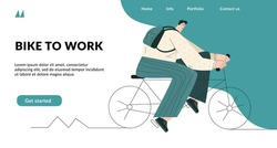 Bike to work. Modern man in suit is riding on bike in a city street.  Urban hipster bicycles. Active business person. Social media landing page heading concept. Template for website, poster, banner