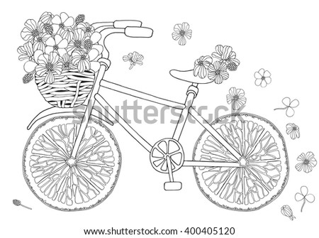 Bike with flower in basket on white background. Orange slices. Hand-drawn, doodle, vector, design elements.  Black and white  background. Made by trace from sketch. Coloring book page for adult.