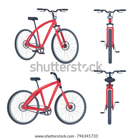 Bike with pedals and rudder front and side view, bicycle lumens headlamp vector illustration isolated on white background. Sportive active transport