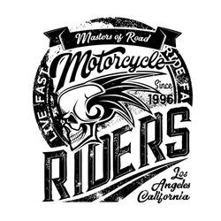 Biker club emblem, skull and wings icons, motorcycle racers and motorbike racing. Vector gunge T-shirt print of Los Angeles and California motorbike road masters gang with ribbon