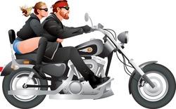 Biker couple riding motorcycle, modified custom bike, Chopper motorbike, American road motor show realistic vector illustration