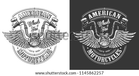 Biker emblem with wings and handle bar. Vector illustration