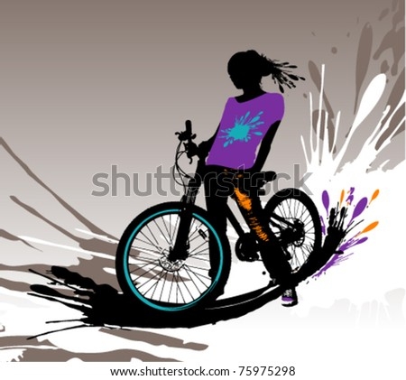 Biker girl silhouette, vector illustration with splashes.