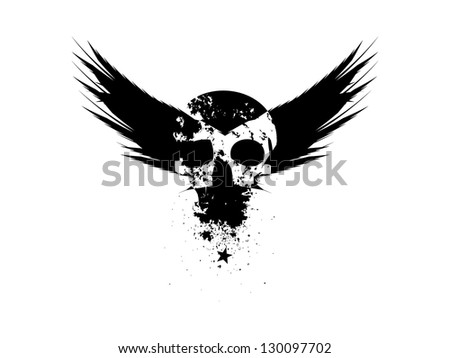 Biker Insignia with Skull and Wings.