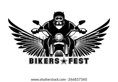 Biker logo. Bike emblem, motor and race, symbol motorcycle, vector illustration
