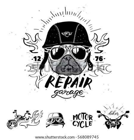 biker pug dog set of vintage