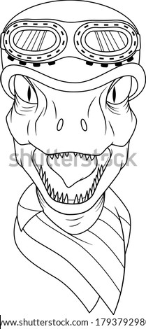 Biker Raptor head with helmet and googles and bandana on neck. Illustration for motor bike clubs and teams. Dinosaur mascot motorcycle rider. Isolated line art for coloring book and pages.