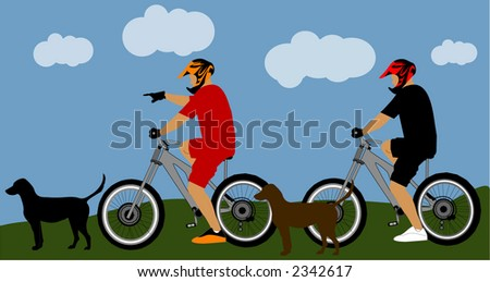 biker riders, dogs  with background illustration