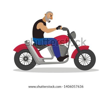 biker riding motorbike isolated