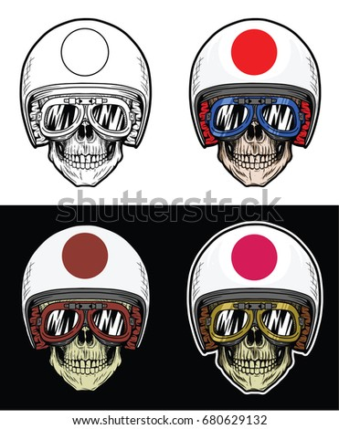 biker skull wearing goggles and