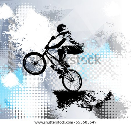 Biker, sport illustration, vector