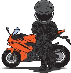 Biker Stand in Front of Sport Motorcycle