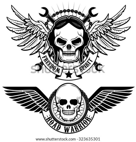 biker theme labels skulls with