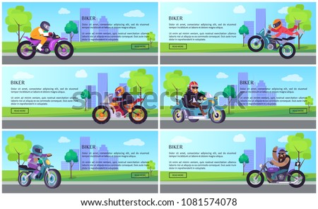 Bikers bike to work web onine posters set, promotion of bicycles motorized scooters vector skyscraper buildings collection on backdrop, text samples