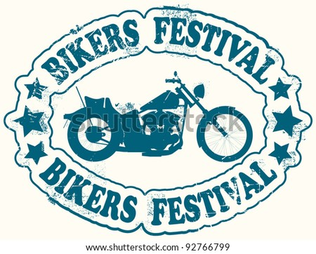 Bikers festival stamp - stock vector